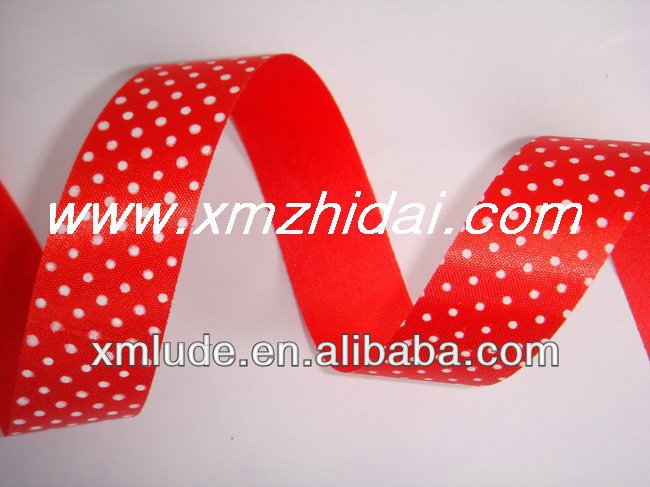 polk dot printed ribbon/ red and white dots printed ribbon
