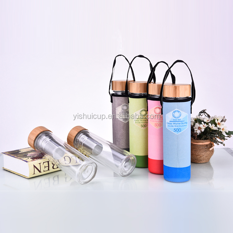 Company gift Free sample promotion glass water bottle clear