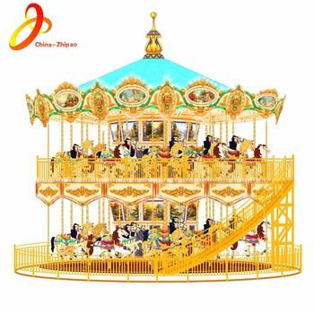 Amusement park necessary double floor carousel horses rides for sale