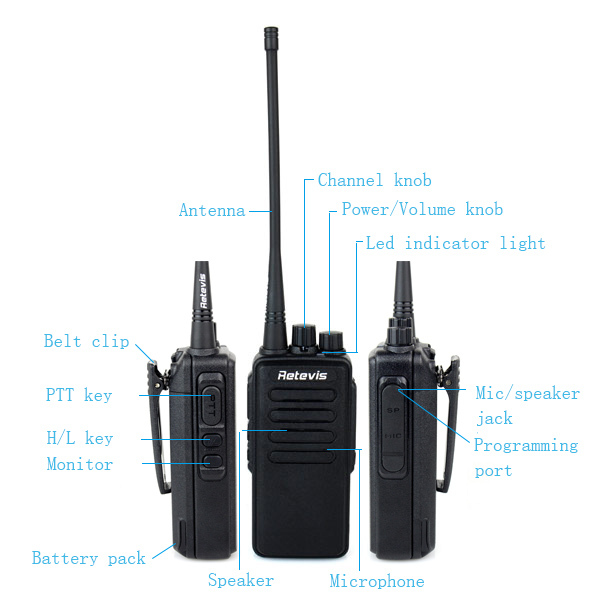 Two way radio genuine 10W 3600mAh RT1 Scrambler Retevis UHF two way radio