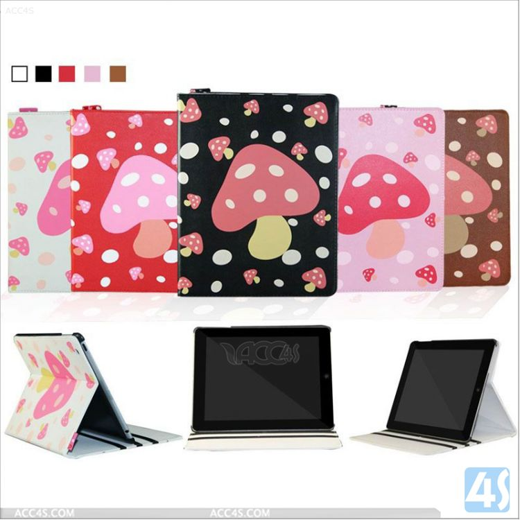 cute drawing leather case with sand for ipad 4 P-APPIPD4PUCA003