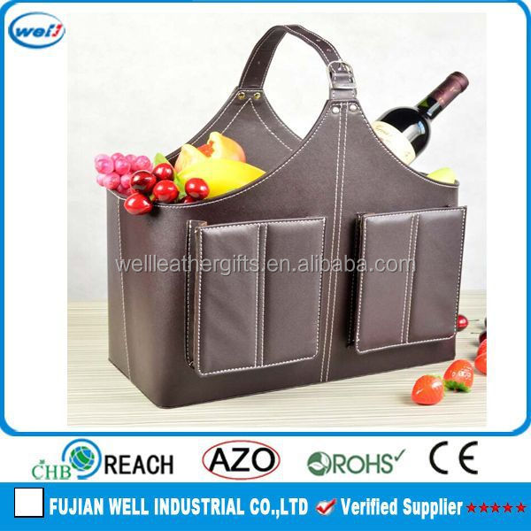 customized PU leather gift basket decorations for holidays