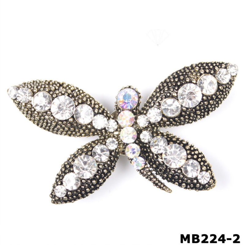 Scarves Shawls Dragonfly Design Antique Tone Magnetic Brooch Clip Clasp Pin (MB224-2)