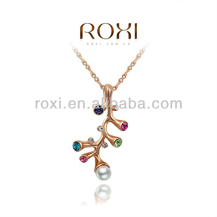 New Design Rose Gold Plated Coral Branch Pendant Necklace with Color Austrian Crystal Jewelry