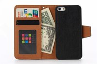 Cheap 2 In 1 For Iphone 5S PU Leather Case For Iphone 5S Retro Wallet Case PC Back Cover With Card Slot MT-4010