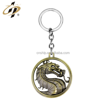 Popular custom antique dragon metal keychain from china