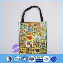 Digital printed custom made cotton canvas women's shopping tote bag