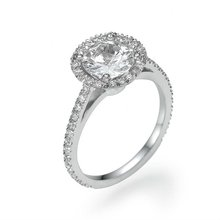 Solitaire engagement ring, 14K White Gold and round cut Diamonds, 2.4 carats, size custom