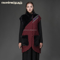 Small Order Wholesale Ethnic Style Patchwork Big Pockets Red Winter Padded Vest