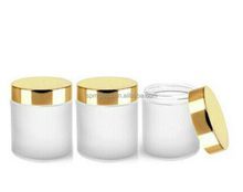 Round luxury straight sided frosted glass jars with upscale caps for candle,bath salt conditioner,body butter,cosmetics
