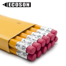 Wholesale Cheap Pre Sharpened Yellow Pencil Set of 12, EN71 Custom Hexagon Cheap Yellow HB Wooden Pencil with Eraser Tip
