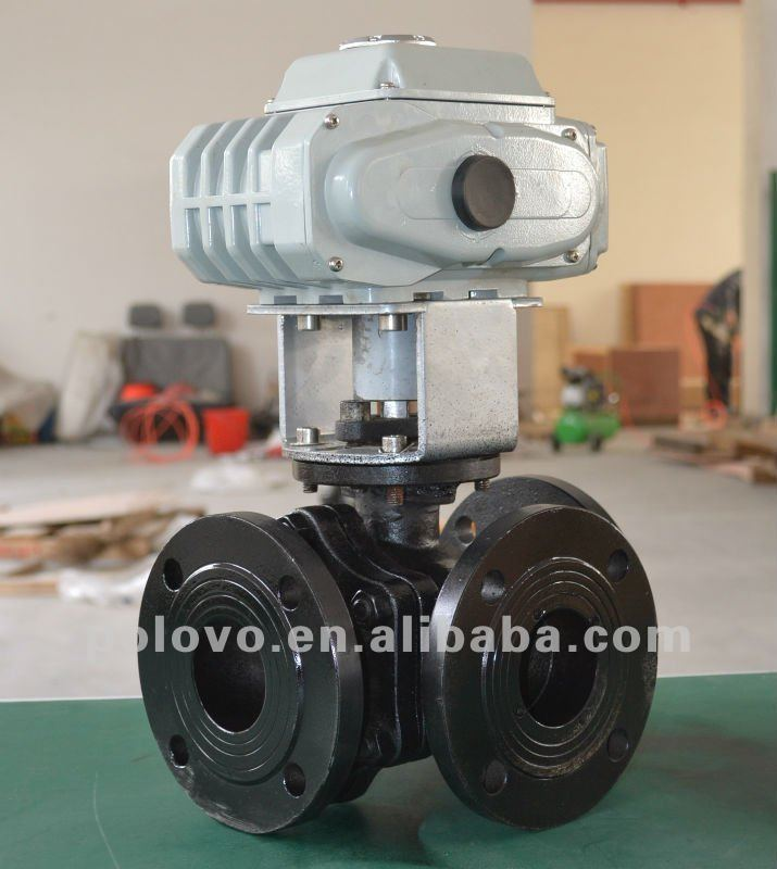 Electric actuated carbon steel 3 way flanged ball valve