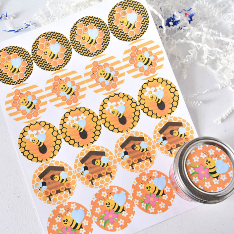 Honey Bee Party Favor Stickers Bee Waterproof Party Labels custom strong adhesive paper sticker