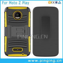3 in 1 shockproof mobile phone kickstand slip cover case for Moto z play , belt clip case for Moto z play