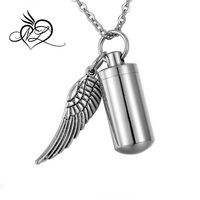 Angel Wing Charm & Cylinder Memorial Urn Necklace Stainless Steel Cremation Jewelry