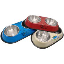 Stainless Steel Removable Double Pet Dog Food Water Bowls
