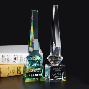 Cheap clear and pale green color crystal award trophy glass plaque 2D 3D laser engraving is available