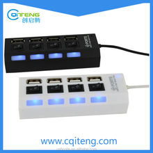 USB 2.0 Hub With Separate ON/OFF Switch And Blue Light USB Hub With Switch
