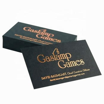 Double sided gold foil printed thick matt black card business cards