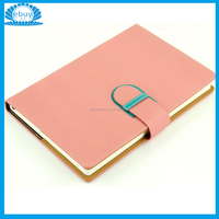 A5 Sweet Color Customised Leather Work Diary Cover With D-Buckle