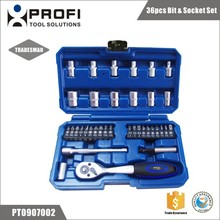 36pcs extension socket and screwdriver bit kits with drive ratchet handle