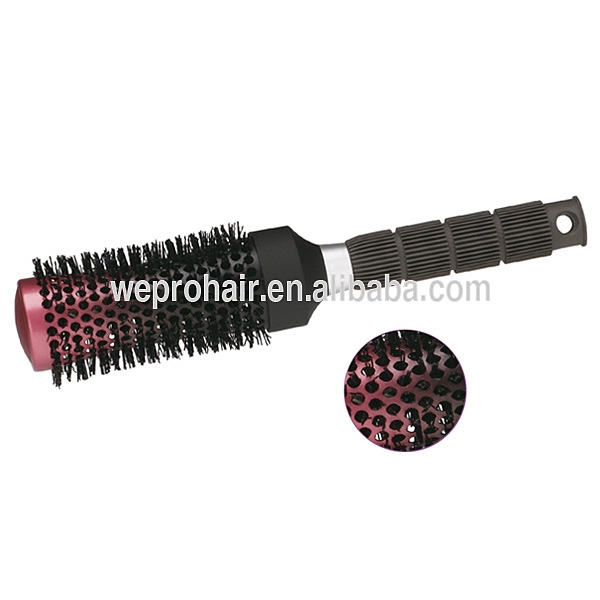 Fashional special style hot curling nylon rotating round hair brush,ceramic brush