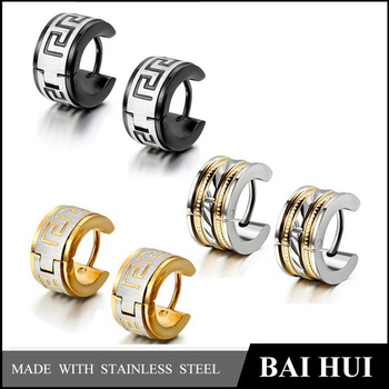 6PCS Fashion Jewelry Stainless Steel Hoop Stud Earrings Set for Mens/Cheap Wholesale Fashion Mens Earrings