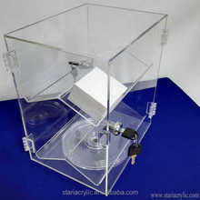 Hinged Door and Rotating Base Small Acrylic Display Case for Counter with 2 Double-Sided Shelves, Watch Jewelry Display Case
