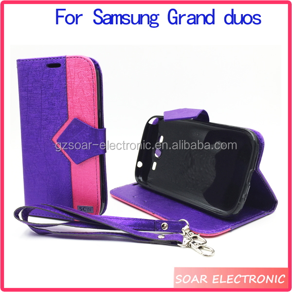 Shing leather wallet flip case diamond cover for samsung galaxy grand duos i9082