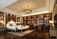 Luxury Exquisite Interior Design for Villa Master Bedroom with Library 3d Rendering
