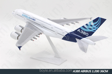 36cm ABS 1: 200 Ture to Scale Light Decorative Aircraft Model Airbus A380 Passenger Plane Model for Home Decoration