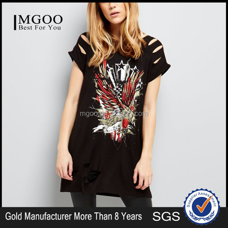 Custom Rock Tee Trend Black Skinny Eagle Print Women Tops 100% Cotton Ripped Longline T-Shirt Roll Cuff