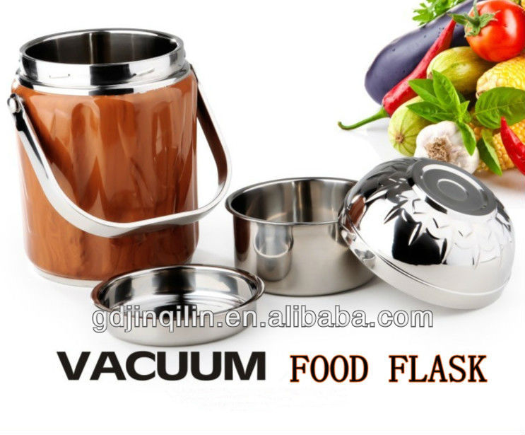 wooden coating hot thermos stainless steel round food container for wholesale