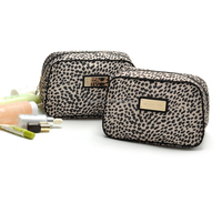 New trend light leopard polyester sexy lady toiletry bag, travel handed waterproof polyester makeup case