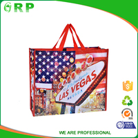 Alibaba China suppliers reusable flag printed woven shopping handbag