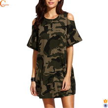 Long sleeve camo clothing frock mini dress for women casual
