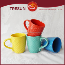 gridding embossing bulk ceramic coffee mugs