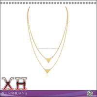 Sterling Silver 18K Yellow Gold Plated Double Triangle Layer Necklace