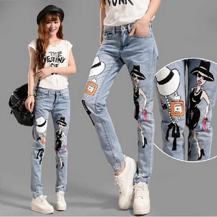 2015 promotional ladies new stretch ripped jeans