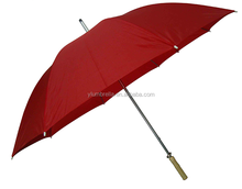 Double 8K ribs manual open golf umbrella plain red canopy with wooden handle