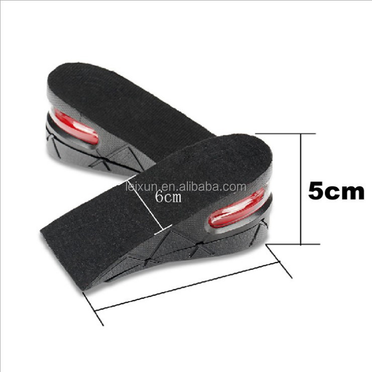 3 tiers PU material 5CM Soft Adjustable Taller Shoe Insole Air Cushion