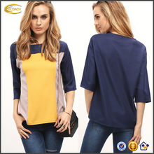 Ecoach fashion casual ladies long sleeve Color Block Round neck new design two color t shirt