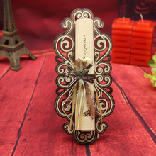Yiwu factory wooden scroll wedding invitations with Metal butterfly and Ribbon bow