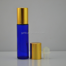 christmas ornaments new products free samples packing 10ml blue roll on glass Refillable Perfume bottle with siver/goldern cap