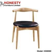 HX6060 Modern Solid Wood Danish Design Armless Side Home Goods Round PU Seat Dining Room Replica Hans Wegner Elbow Chair
