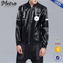 2015 OEM High Quality Latest Fashion Boys Print Moto Leather Jacket