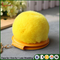 Wholesale DIY Fashion Style Artificial Fur Pom Pom Keyring With Mirror Bag Pendant Charm Keychain