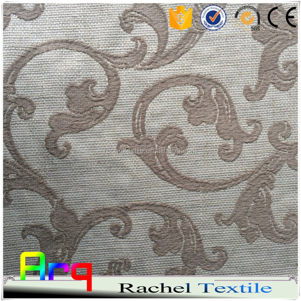 Pure Linen polyester blend fabric heavy soft luxury new Dubai style star hotel living room, bedroom curtain