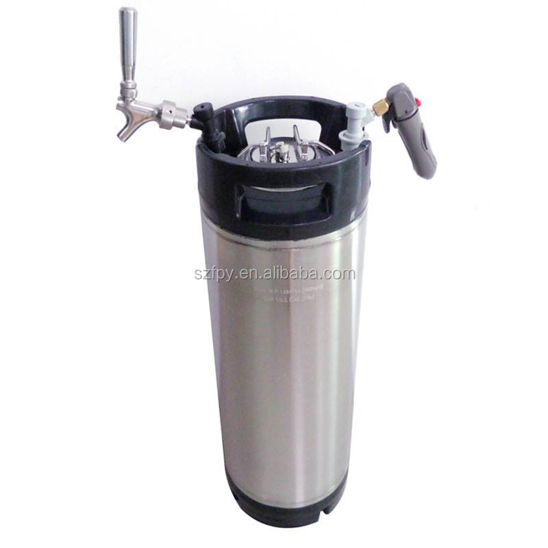 5 Gallon Cornelius Style Bright Shining Polished 90% New Beer OB Keg & Stainless Steel Beer Faucet & Co2 Keg Charger Kit