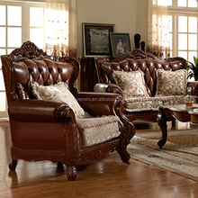Antique red classical American leather sofa set,American sofa home furniture brown vintage leather sofa